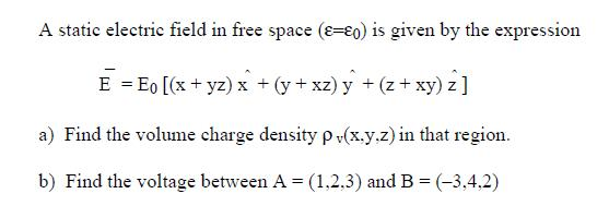 A static electric field in free space (epsilon= ep