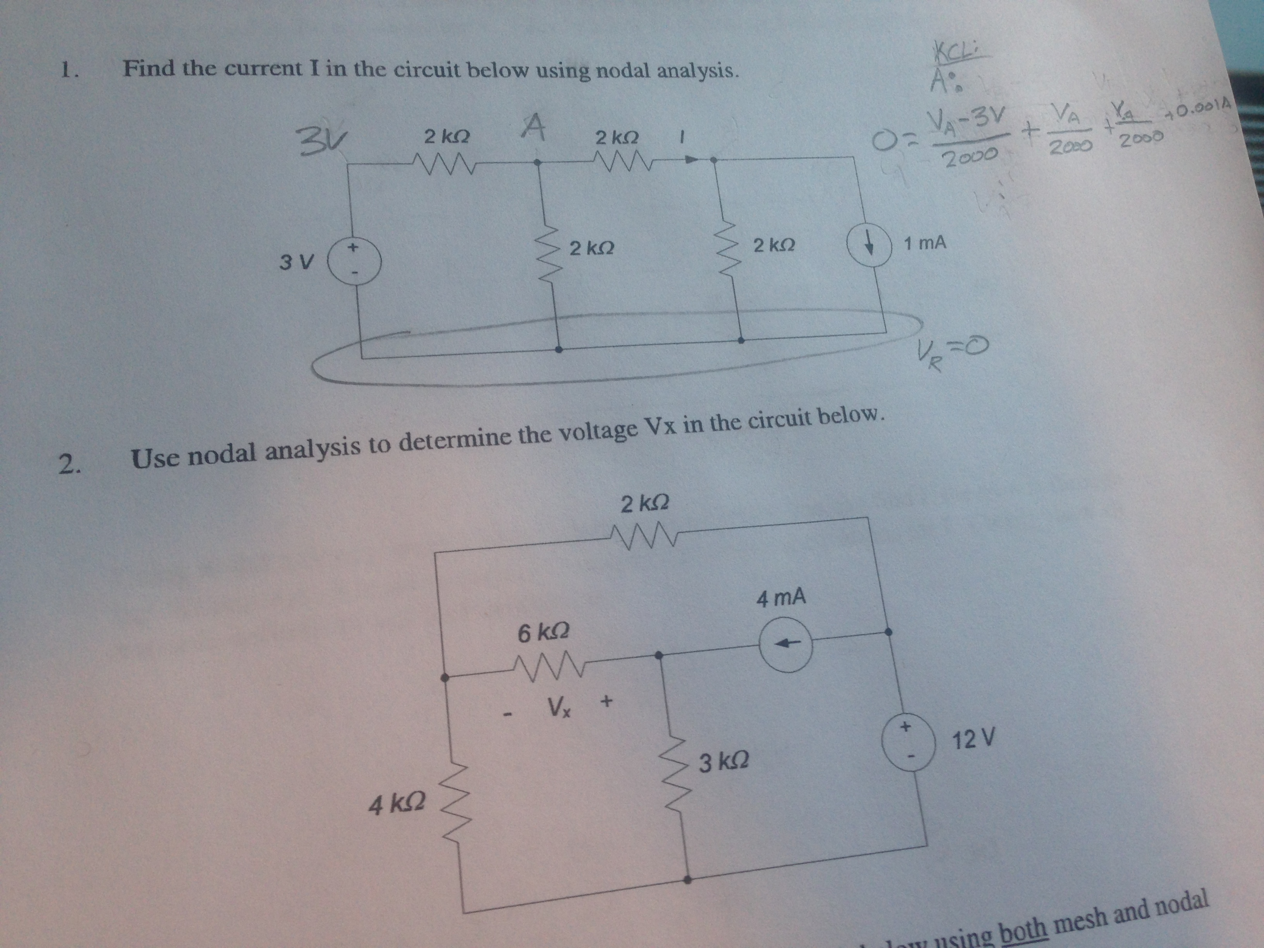 Find the current I in the circuit below using noda
