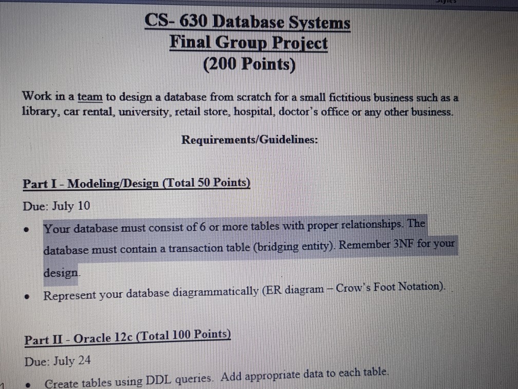 cs 630 database systems final group project 200 points work in a team - How To Design A Database From Scratch
