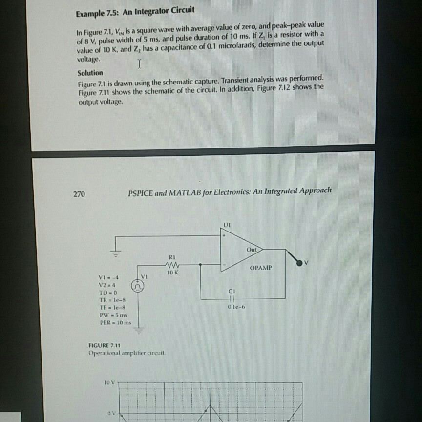 Solved example 7 5 an integrator circuit in figure 7 1