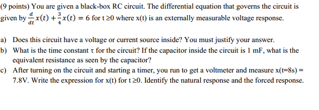 You are given a black - box RC circuit. The differ