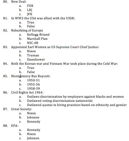 cold war test multiple choice questions pdf