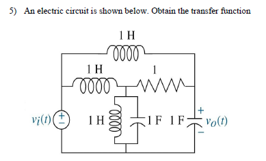 An electric circuit is shown below. Obtain the tra