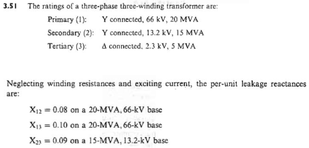 The ratings of a three-phase three-winding transfo
