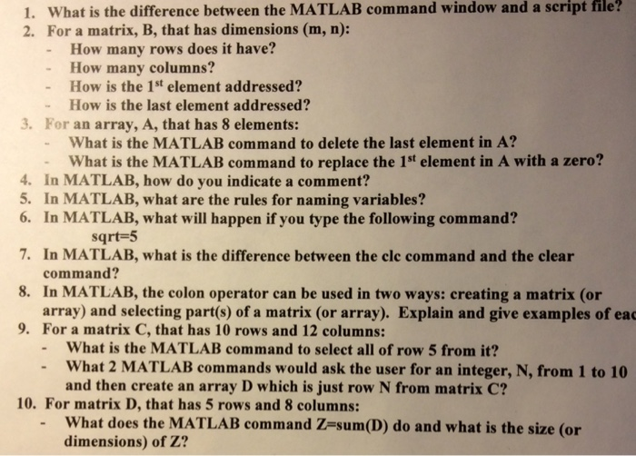 What is the difference between the MATLAB command