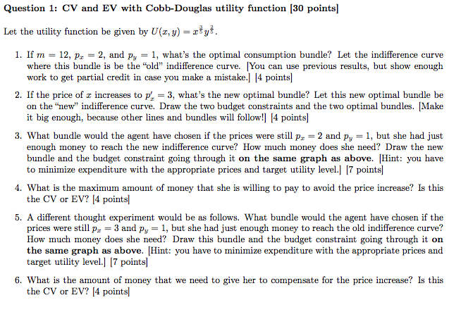 Question: CV and EV with Cobb-Douglas utility function  Let the utility function be given by U(x, y) = x^3/...