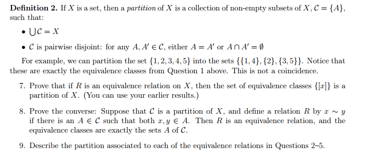 Solved: If X Is A Set, Then A Partition Of X Is A Collecti ...