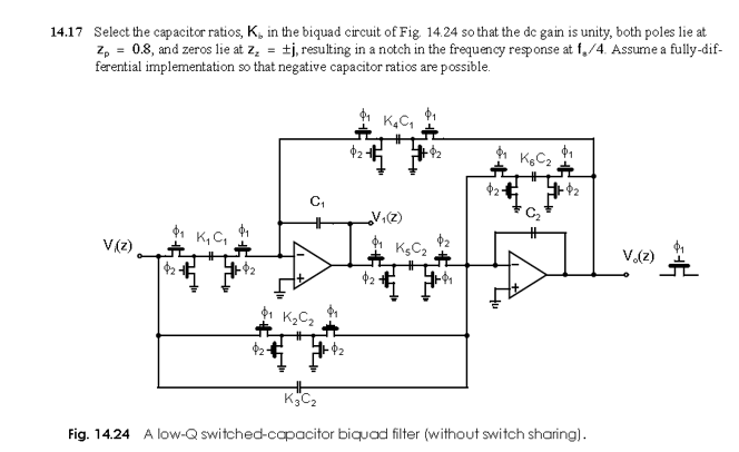 Select the capacitor ratios, Kb in the biquad circ