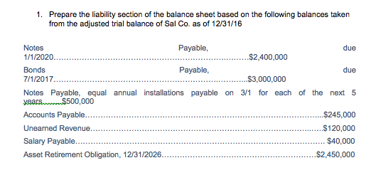 Prepare The Liability Section Of The Balance Sheet Based On The Following  Balances Taken