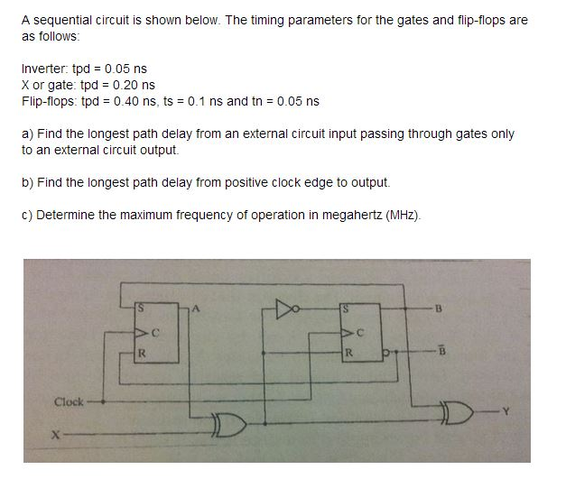 A sequential circuit is shown below. The timing pa