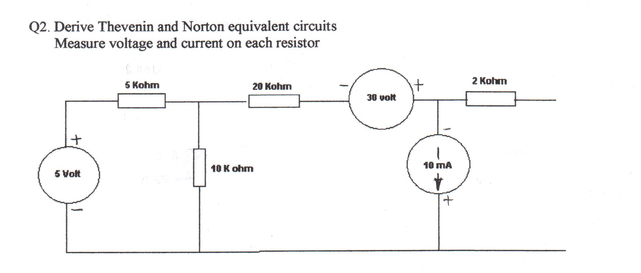 Derive Thevenin and Norton equivalent circuits Mea