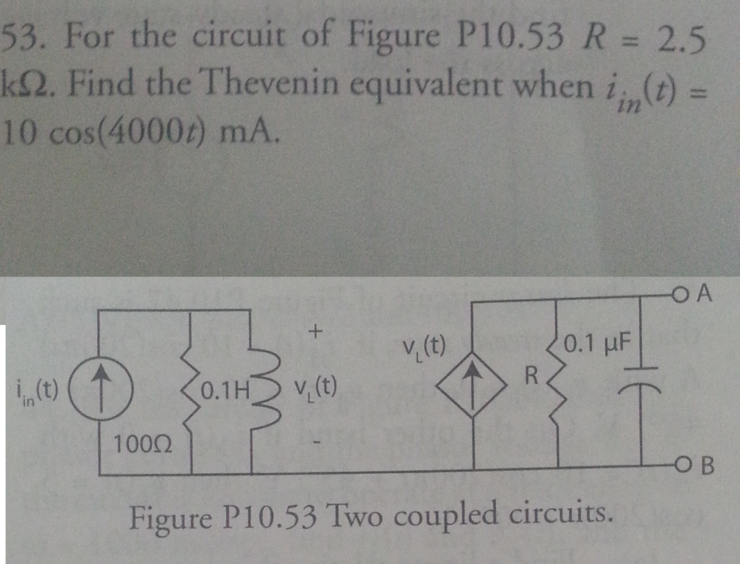 For the circuit of Figure P10.53 R = 2.5 k Ohm. Fi