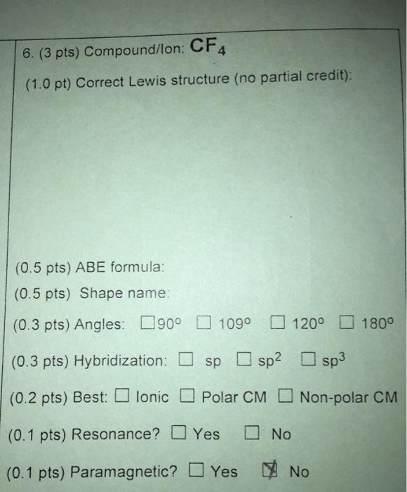 Solved 6 3 pts compoundlon cf4 10 pt correct lewi 3 pts compoundlon cf4 10 pt correct ccuart Image collections