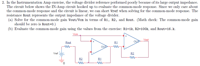 In the Instrumentation Amp exercise, the voltage d
