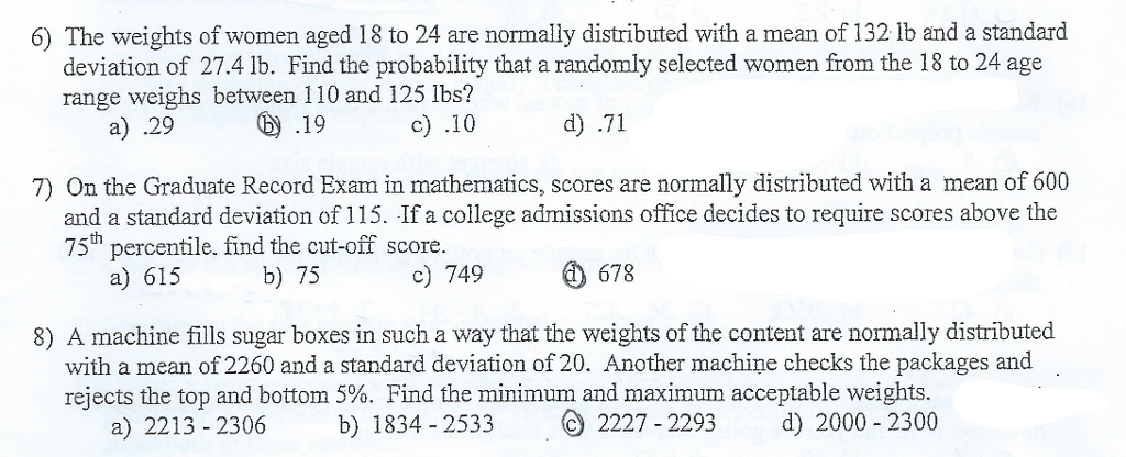 I need the work shown for solving the problems to chegg 6 the weights of women aged 18 to 24 are normally distributed with a mean ccuart Choice Image