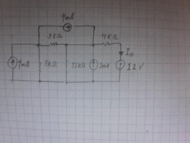 Find Io in the following circuit by source transfo
