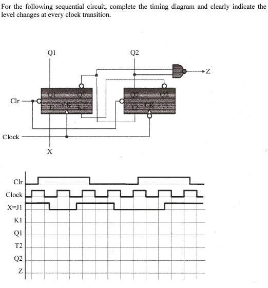 For the following sequential circuit, complete the