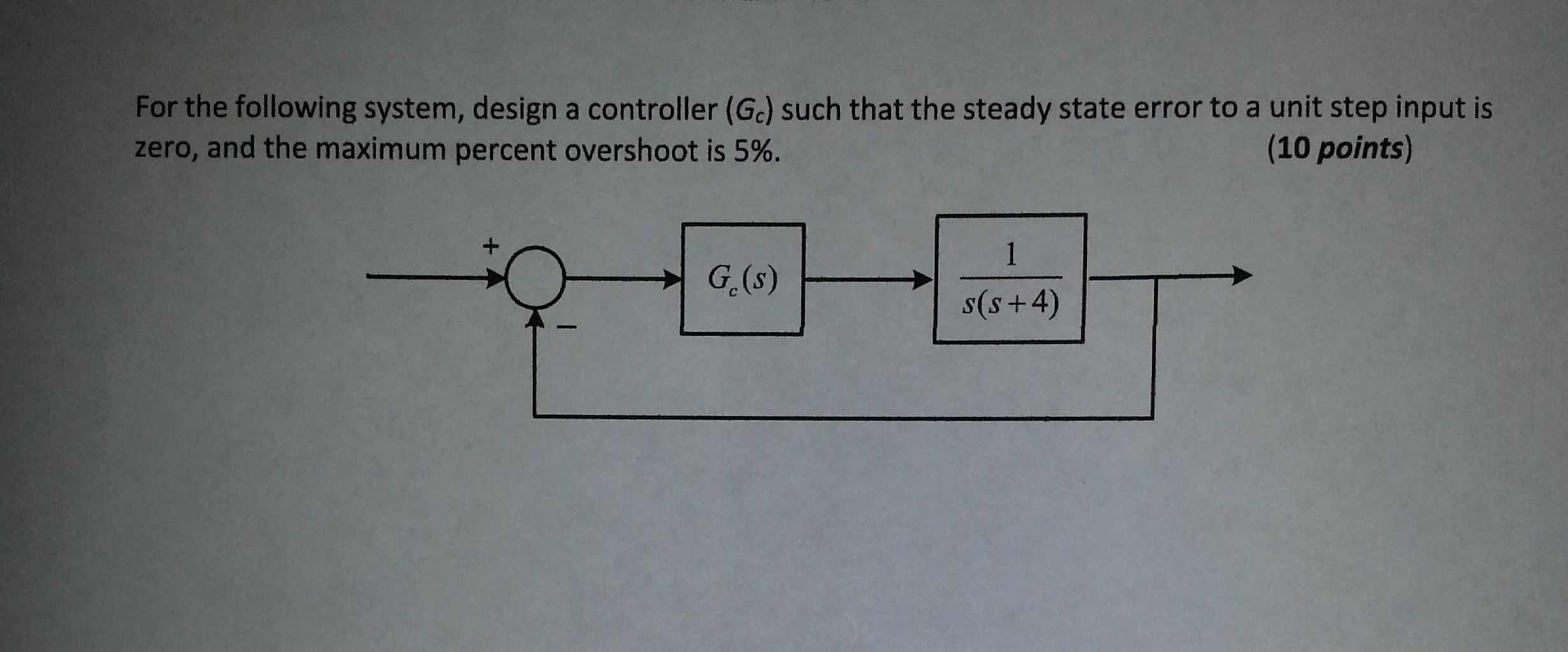 For the following system, design a controller (Gc)