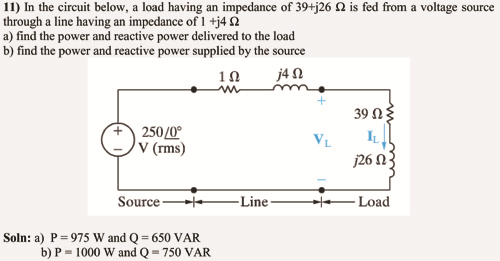 In the circuit below, a load having an impedance o