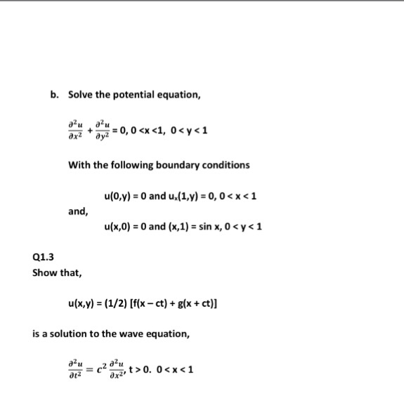 Solve the potential equation, partial differential
