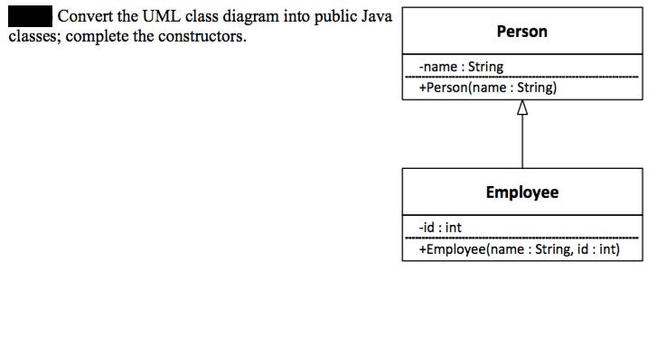 Convert the uml class diagram into public java cla chegg convert the uml class diagram into public java cla ccuart Choice Image