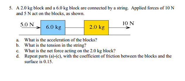 A 2.0 kg block and a 6.0 kg block are connected by