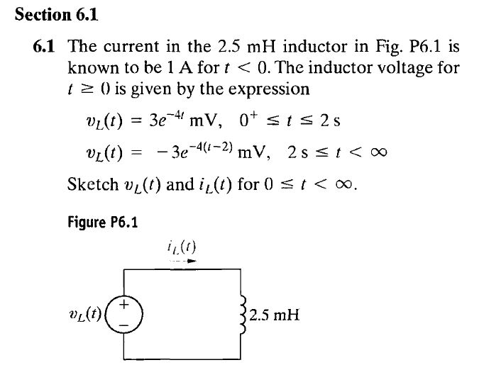 The current in the 2.5 mH inductor in Fig. P6.1 is