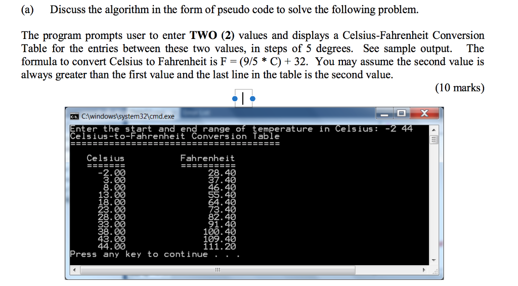 (a) Discuss the algorithm in the form of pseudo code to solve the following problem. The program prompts user to enter TWO (2) values and displays a Celsius-Fahrenheit Conversion Table for the entries between these two values, in steps of 5 degrees. See sample output. The formula to convert Celsius to Fahrenheit is F-(9/5 * C) + 32·You may assume the second value is always greater than the first value and the last line in the table is the second value. 2 (10 marks) .:lwindows1system32cmd.exe nter the start and end range of temperature in Celsius- Celsius-to-Fahrenheit Conversion Table 2 Celsius Fahrenheit 28.40 37.40 46.40 55. 40 2.00 23.00 28.00 73.40 82.40 91.40 100.40 38.00 43.00 109.4 111.20 Press any key to continue . . .
