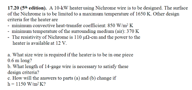 A 10 kw heater using nichrome wire is to be design chegg a 10 kw heater using nichrome wire is to be design keyboard keysfo Gallery