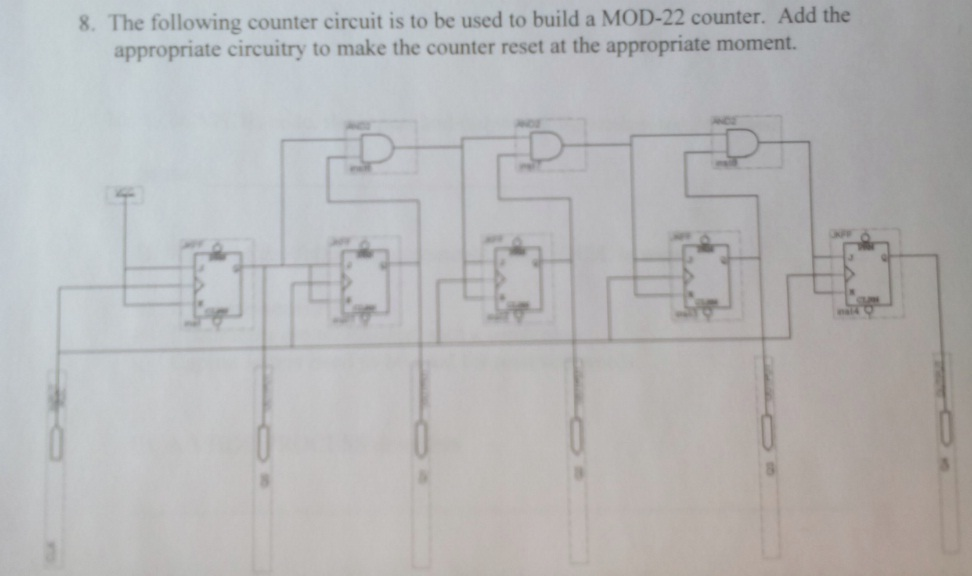 The following counter circuit is to be used to bui