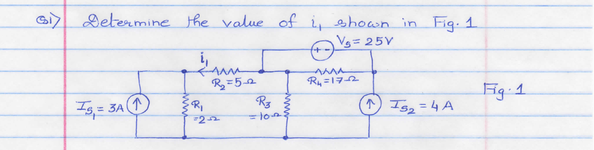 Determine the value of i1 shown in fig.1