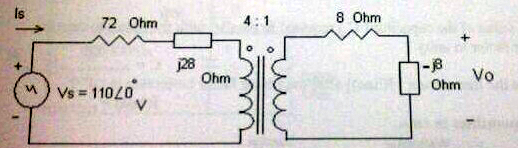 Determine the output voltage (Vo) across the -j8