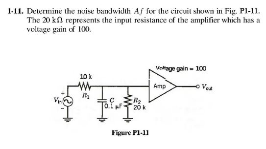 Determine the noise bandwidth Af for the circuit s