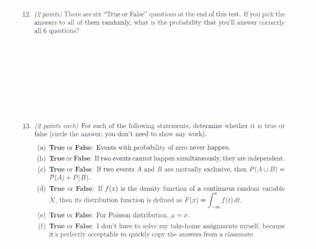true and false questions How can the answer be improved.