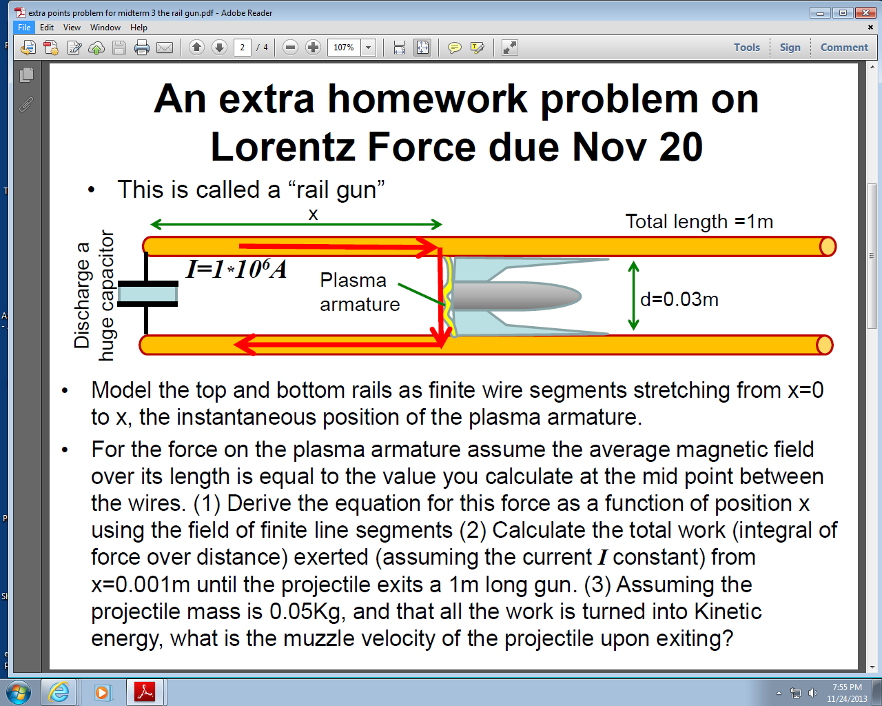An extra homework problem on Lorentz Force due Nov