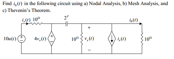 Find i 0(t) in the following circuit using a) Noda