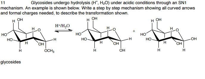 Solved: Glycosides Undergo Hydrolysis (H+, H_2O) Under Aci ...