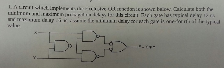 A circuit which implements the Exclusive-OR functi