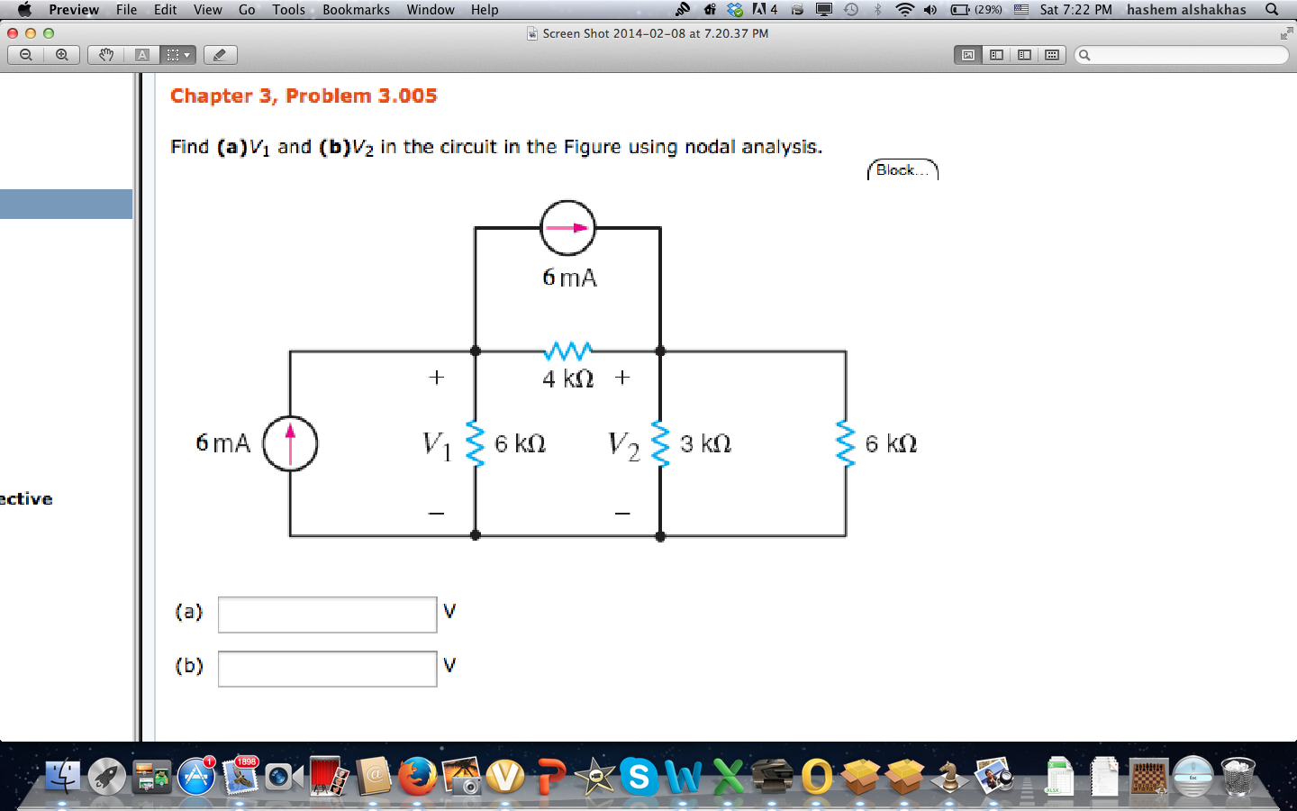 Find (a) V1 and (b) V2 in the circuit in the Figur
