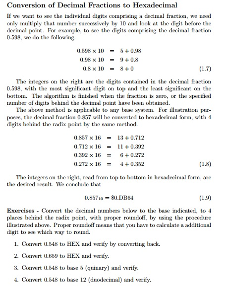 Conversion of Decimal Fractions to Hexadecimal If