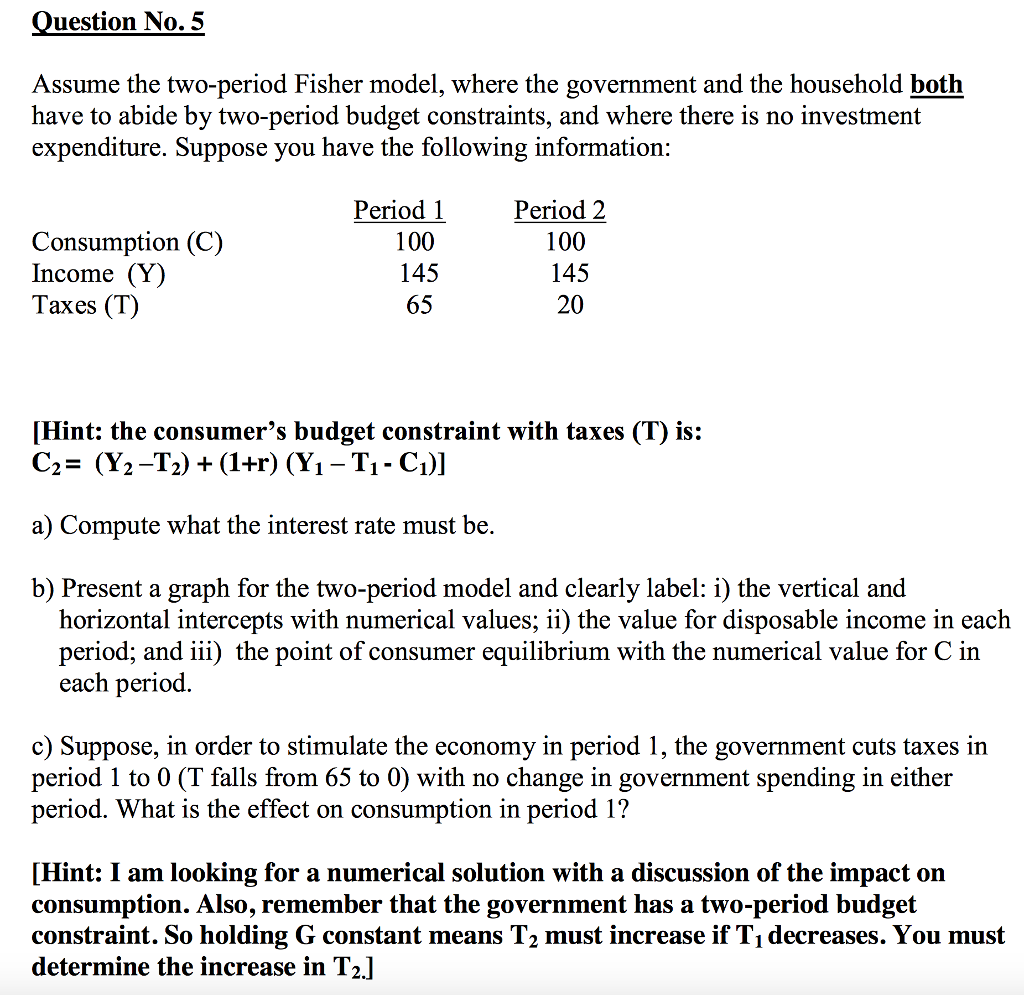 Question: Assume the two-period Fisher model, where the government and the household both have to abide by ...