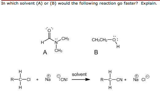 In which solvent (A) or (B) would the following re