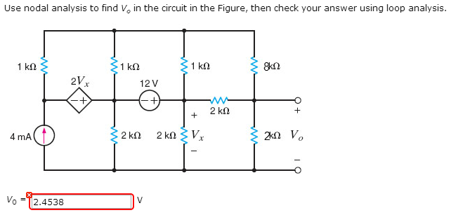 Use nodal analysis to find Vo in the circuit in th