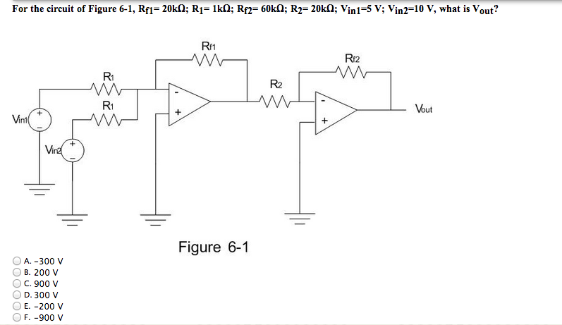For the circuit of Figure 6-1, Rf1= 20k Ohm; R1= l