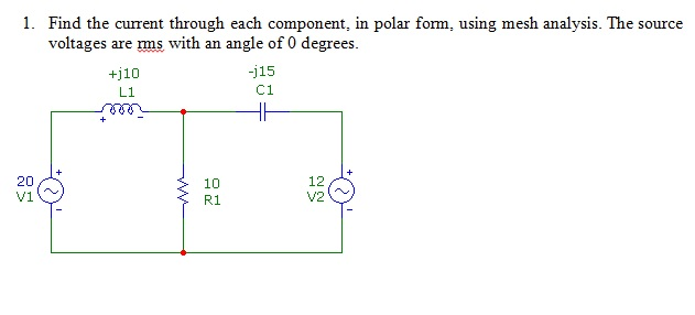 Find the current through each component, in polar