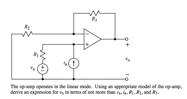 The op-amp operates in the linear mode. Using an