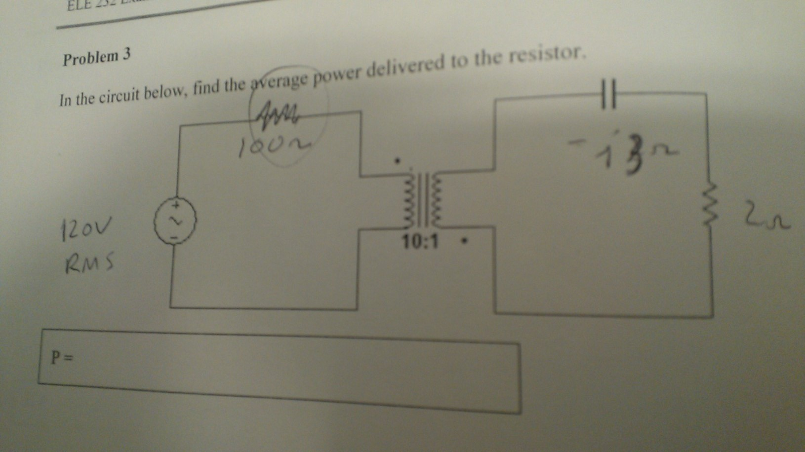 In the circuit below, find the average power deliv