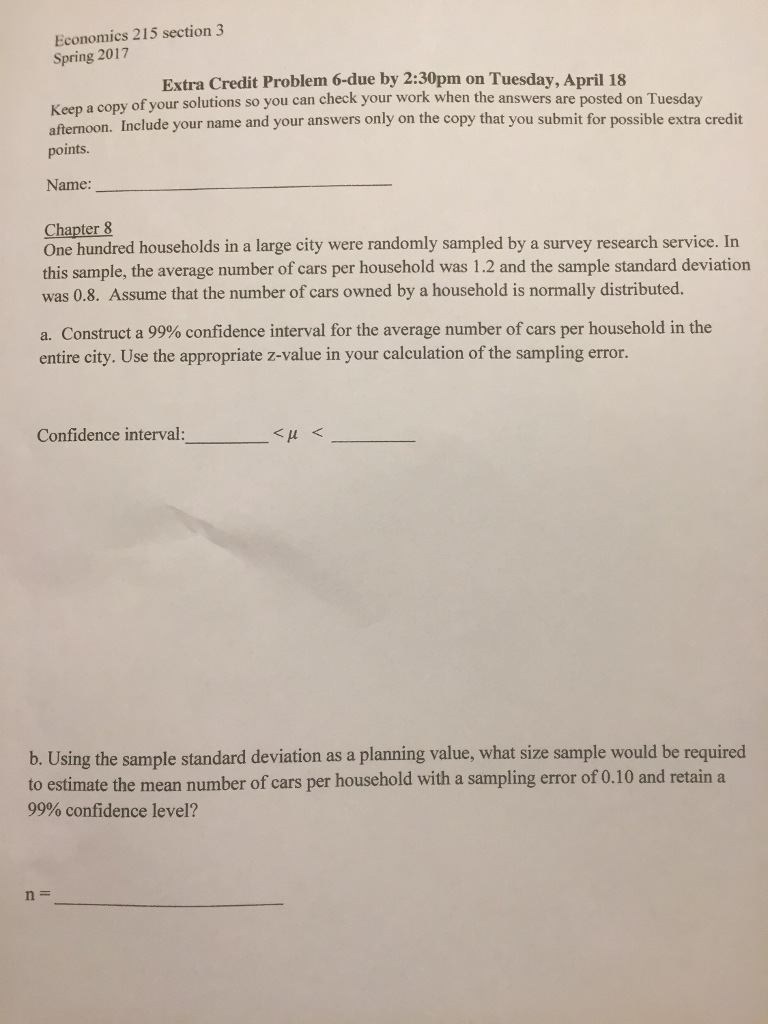 Economics 215 Section 3 Spring Extra Credit Problem 6due By 2:30pm On How To