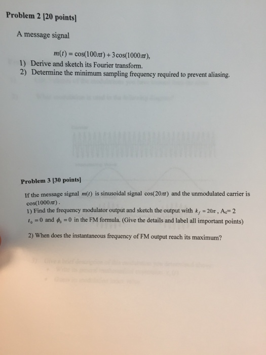 fourier and modulation and homework and solutions and pdf