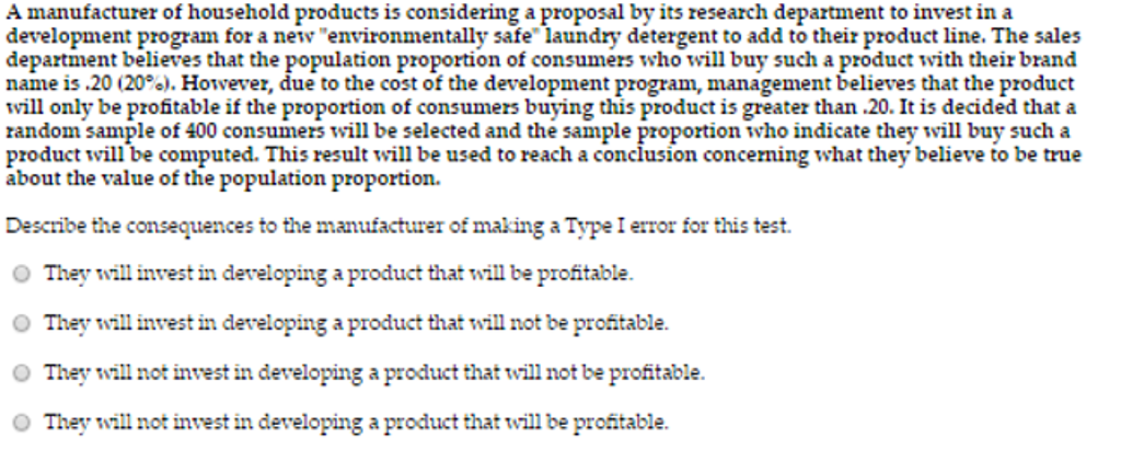 Solved A Manufacturer Of Household Products Is Considerin